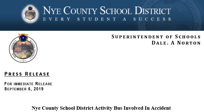 Press Release: NCSD Activity Bus Involved in Accident