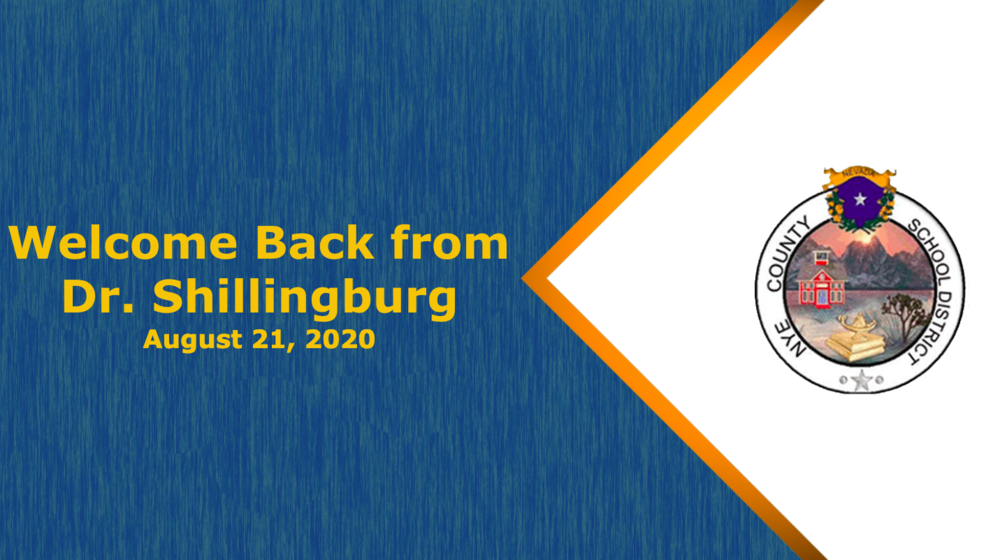 Welcome Back Message from Dr. Shillingburg