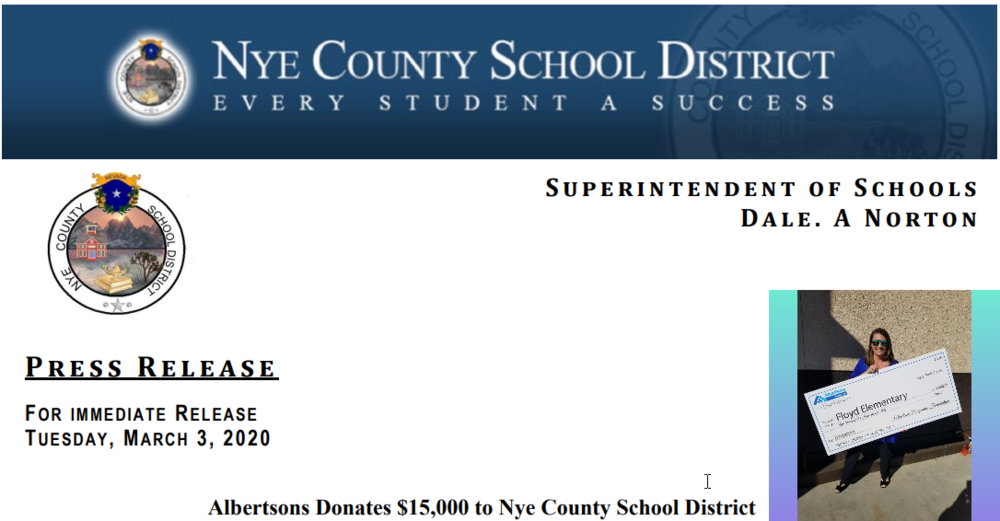 Press Release: Albertsons Donates to Nye County School District
