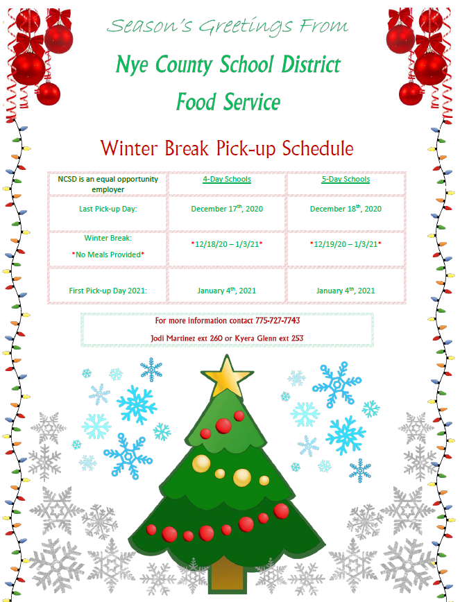 NCSD Winter Break Meal Pick-Up Schedule