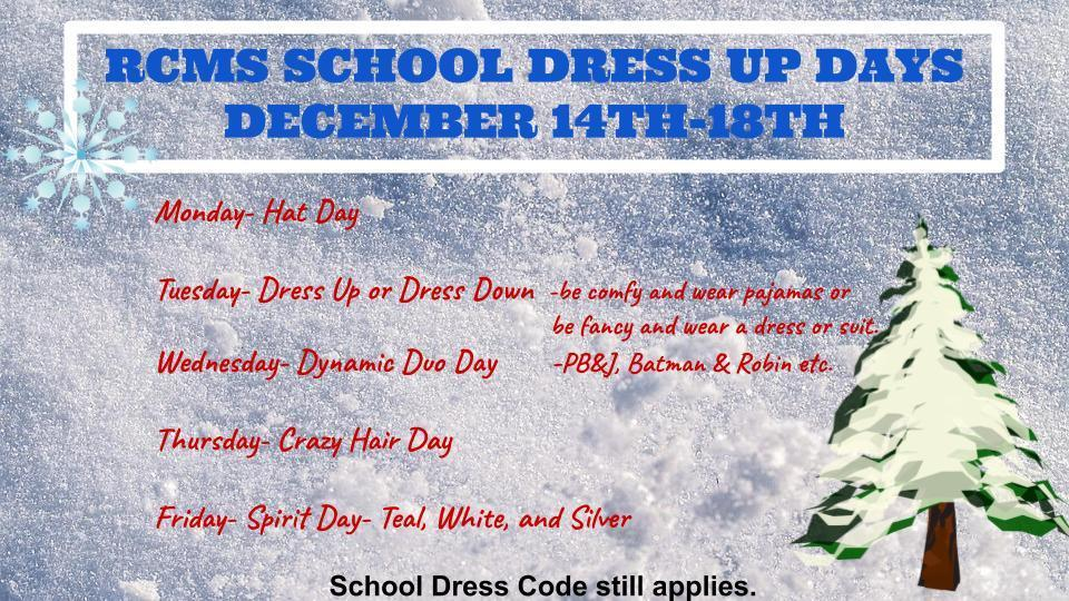 Dec. 14-18th Spirit Week