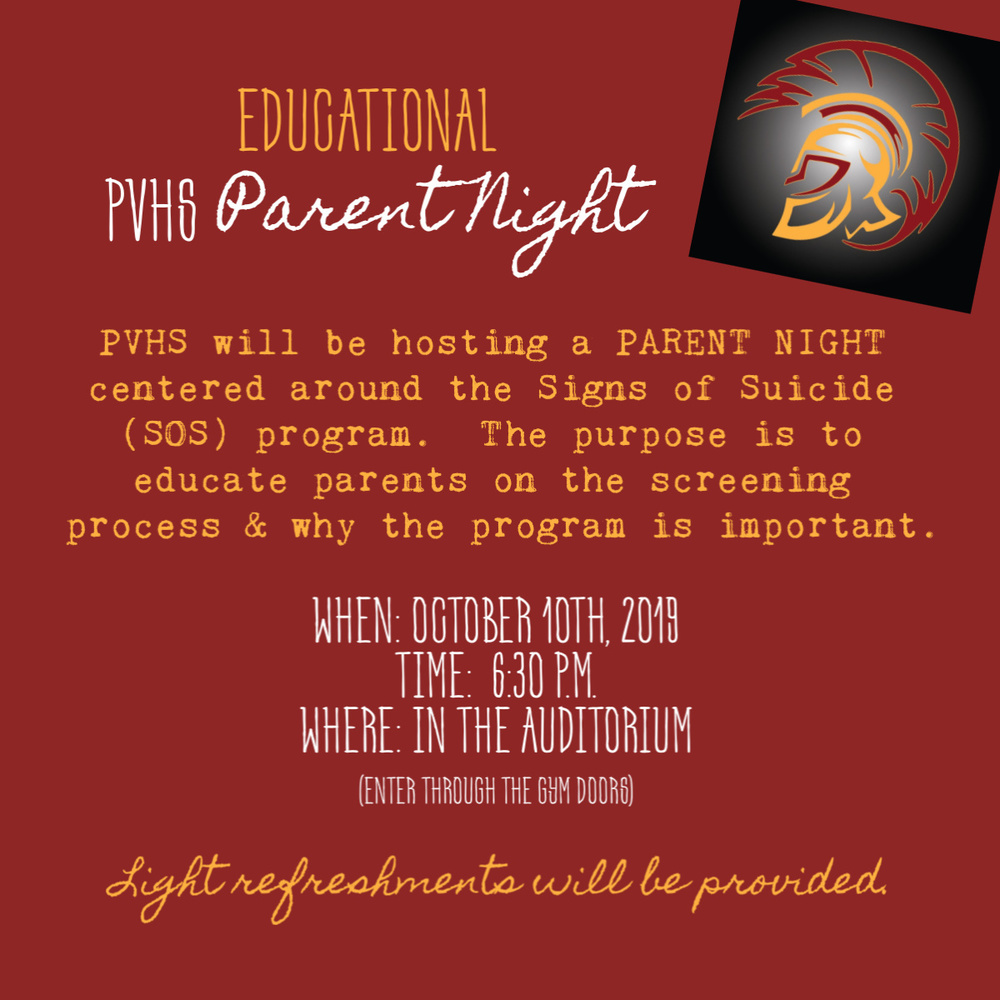 PVHS to host an Educational Parent Night!
