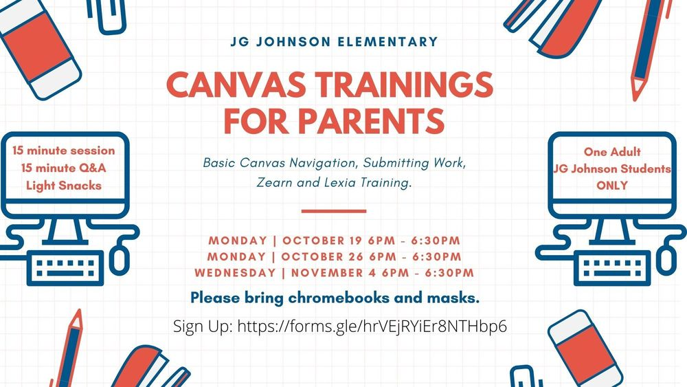 Canvas Training 10/19,  10/26,  11,4