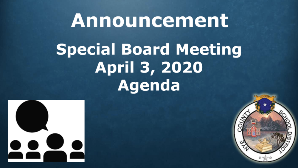 Announcement: Special Board Meeting, 4/3/20