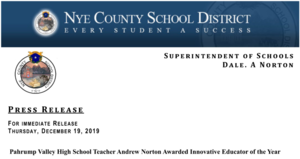 Press Release: Andrew Norton Awarded Innovative Educator of the Year