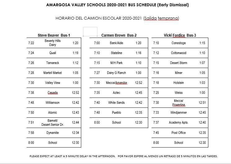 Early Dismissal Bus Schedule
