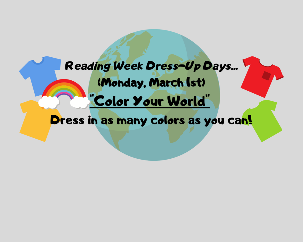 "Monday, March 1st ""Dress in as many colors as you can"""