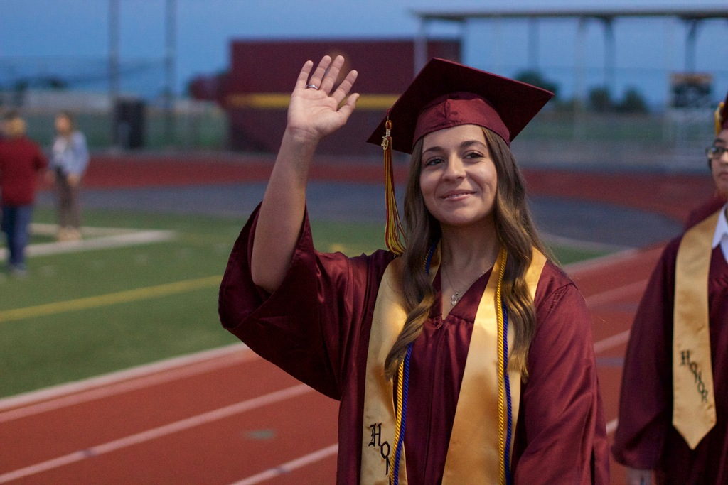 Virginia Weir waves to her friends and family as she prepares to take over the world.