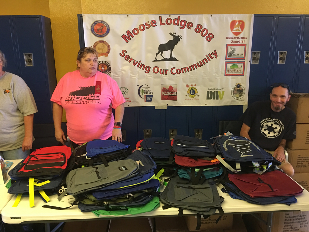 Moose Lodge 808 with backpacks