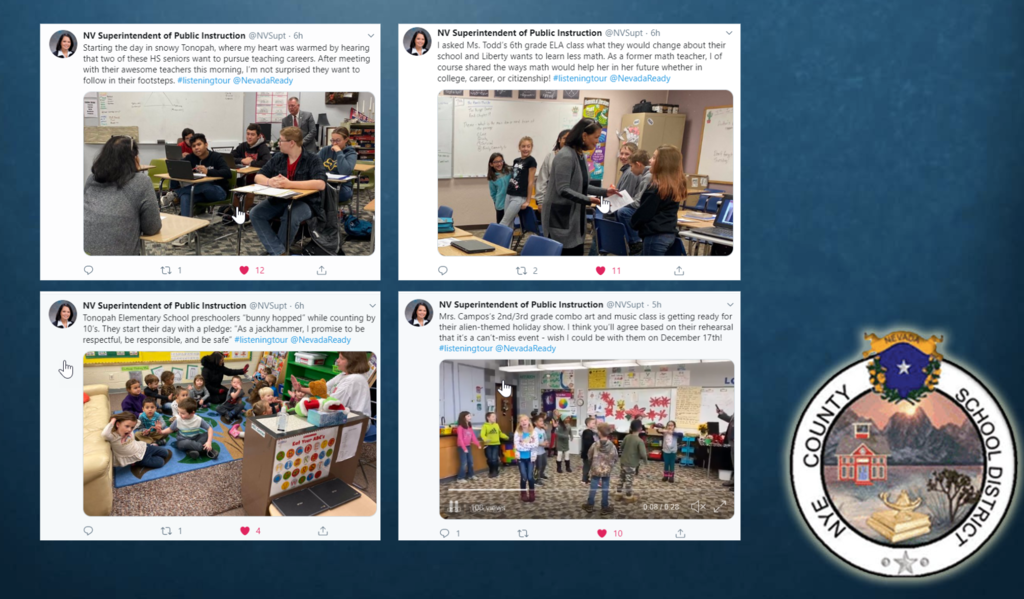 The four tweets published by @NVSupt about Tonopah Schools